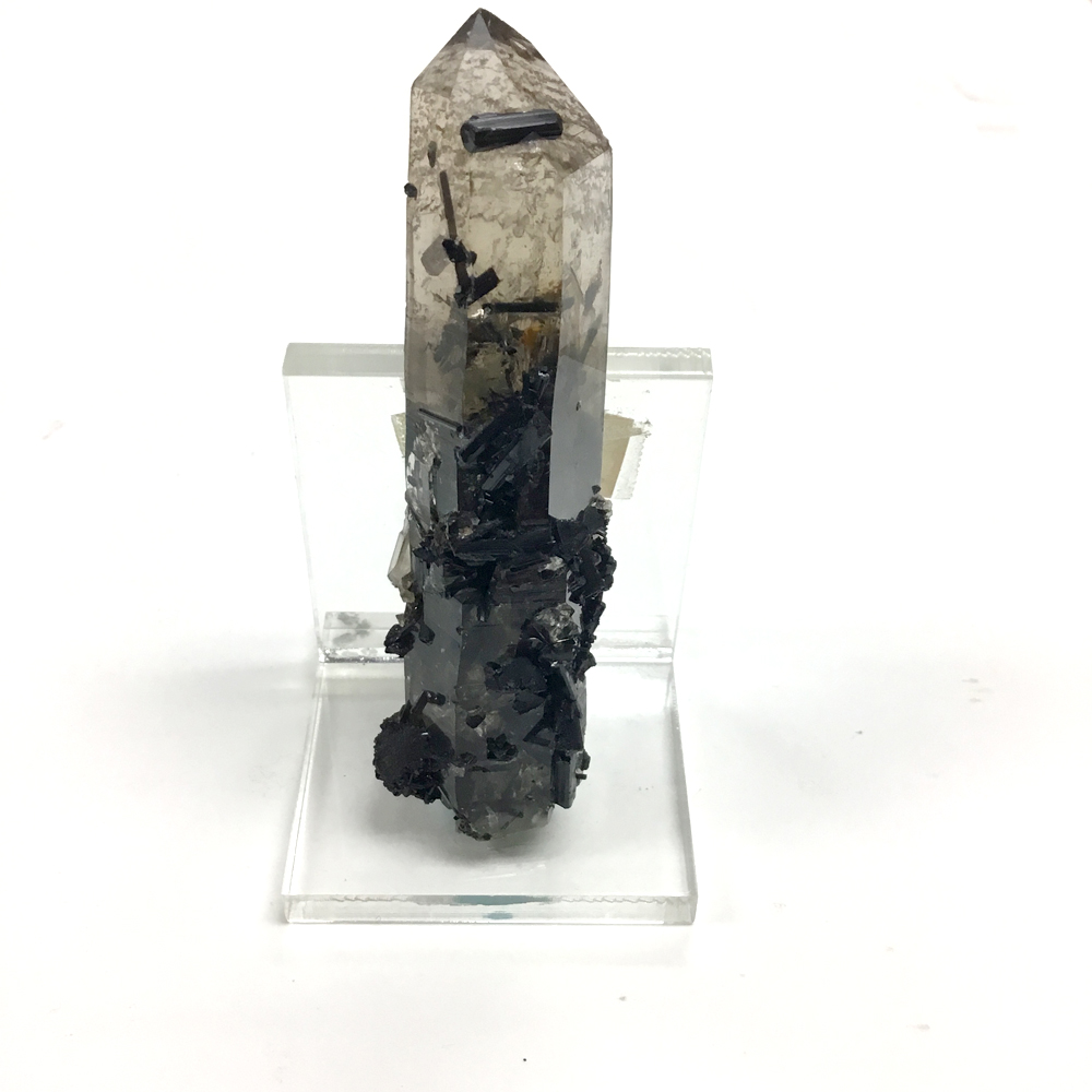 Black Tourmaline on Smokey Quartz